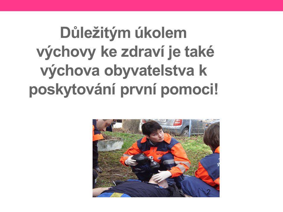 Důležitým úkolem výchovy ke zdraví je také výchova obyvatelstva k poskytování první pomoci!