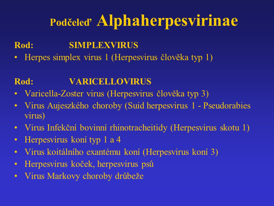 Podčeleď Alphaherpesvirinae