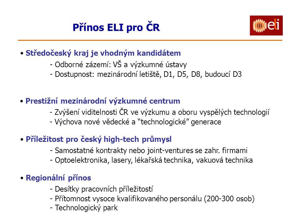 Přínos ELI pro ČR Středočeský kraj je vhodným kandidátem