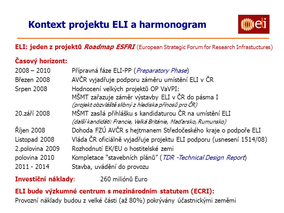 Kontext projektu ELI a harmonogram