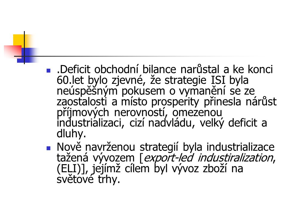 Deficit obchodní bilance narůstal a ke konci 60