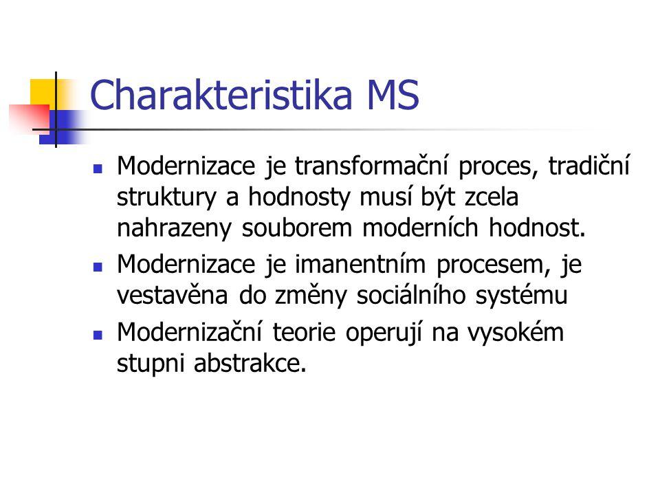 Charakteristika MS Modernizace je transformační proces, tradiční struktury a hodnosty musí být zcela nahrazeny souborem moderních hodnost.