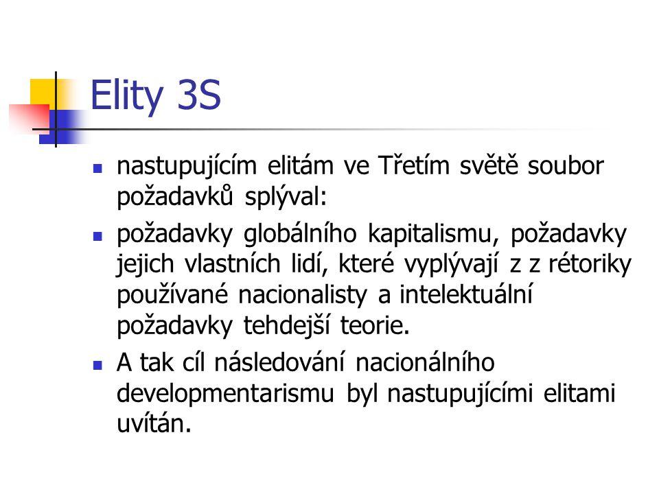 Elity 3S nastupujícím elitám ve Třetím světě soubor požadavků splýval: