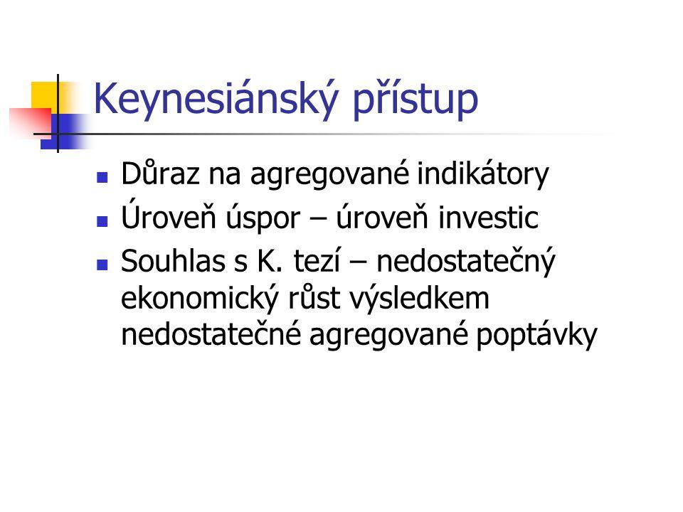 Keynesiánský přístup Důraz na agregované indikátory