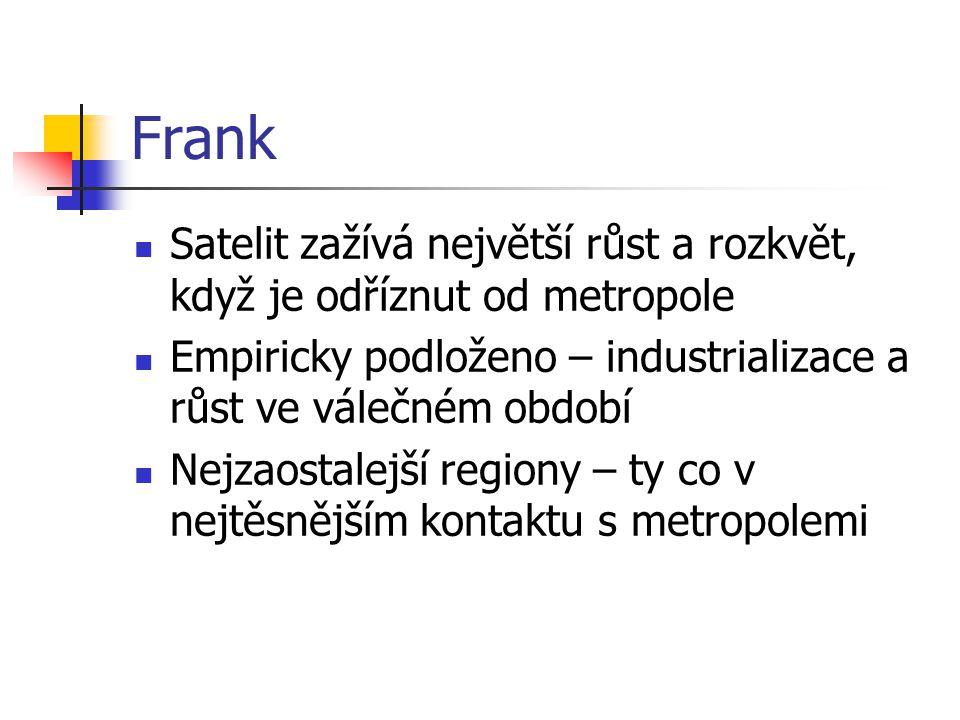 Frank Satelit zažívá největší růst a rozkvět, když je odříznut od metropole. Empiricky podloženo – industrializace a růst ve válečném období.