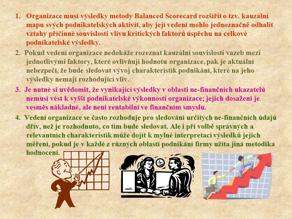 1. Organizace musí výsledky metody Balanced Scorecard rozšířit o tzv