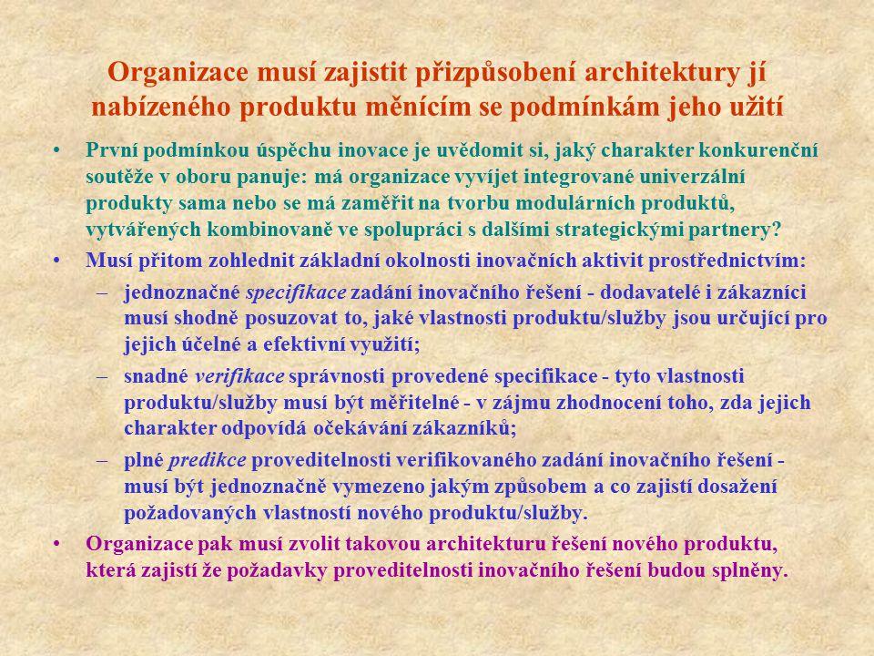 Organizace musí zajistit přizpůsobení architektury jí nabízeného produktu měnícím se podmínkám jeho užití