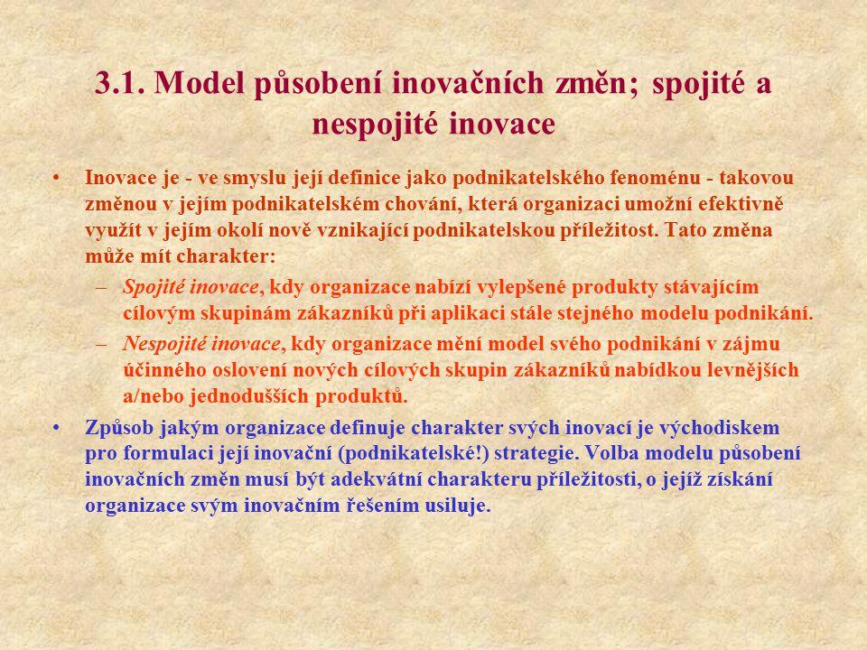 3.1. Model působení inovačních změn; spojité a nespojité inovace