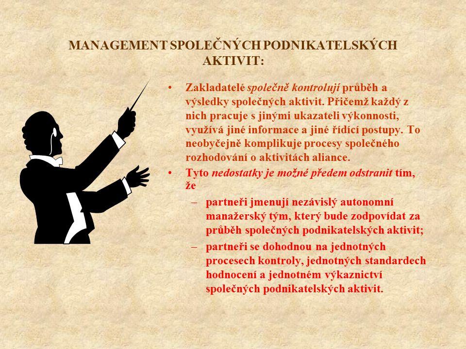 MANAGEMENT SPOLEČNÝCH PODNIKATELSKÝCH AKTIVIT: