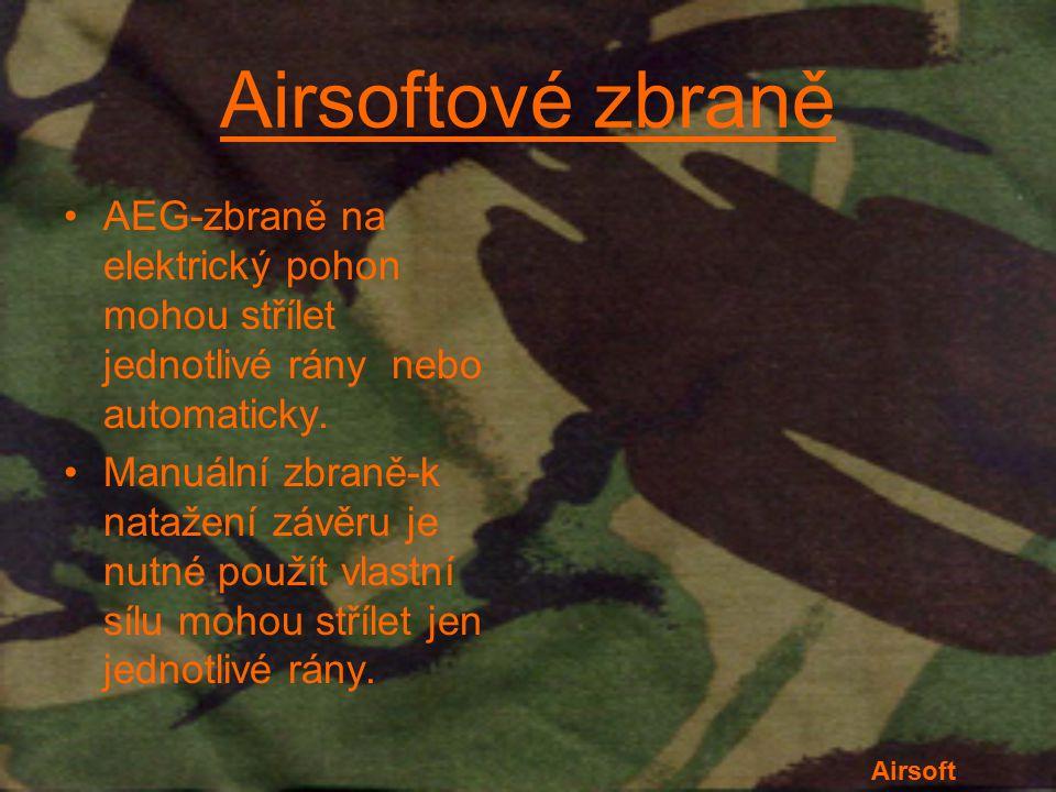 Airsoftové zbraně AEG-zbraně na elektrický pohon mohou střílet jednotlivé rány nebo automaticky.