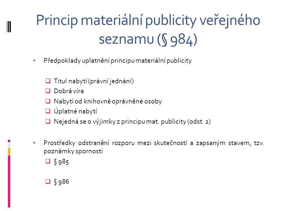 Princip materiální publicity veřejného seznamu (§ 984)