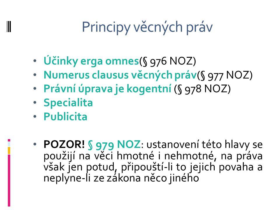 Principy věcných práv Účinky erga omnes(§ 976 NOZ)