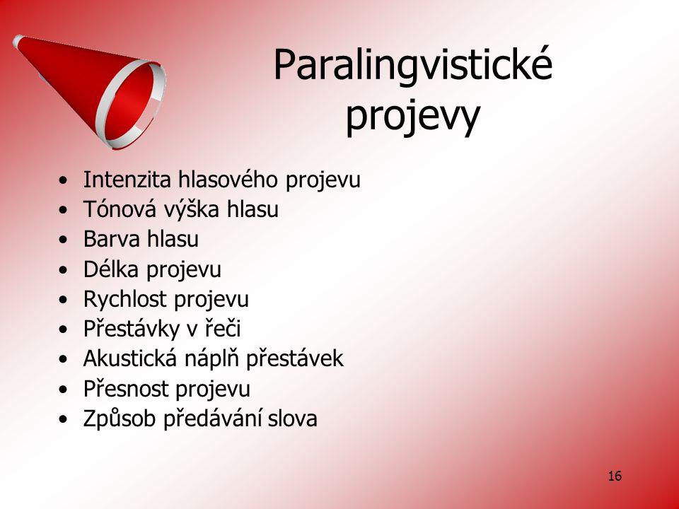 Paralingvistické projevy