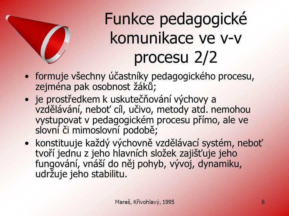 Funkce pedagogické komunikace ve v-v procesu 2/2