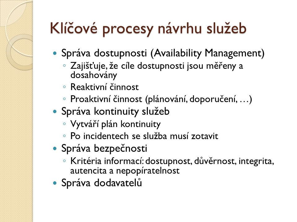 Klíčové procesy návrhu služeb