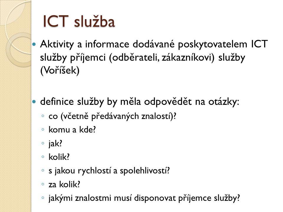 ICT služba Aktivity a informace dodávané poskytovatelem ICT služby příjemci (odběrateli, zákazníkovi) služby (Voříšek)