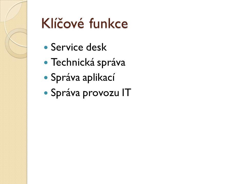 Klíčové funkce Service desk Technická správa Správa aplikací