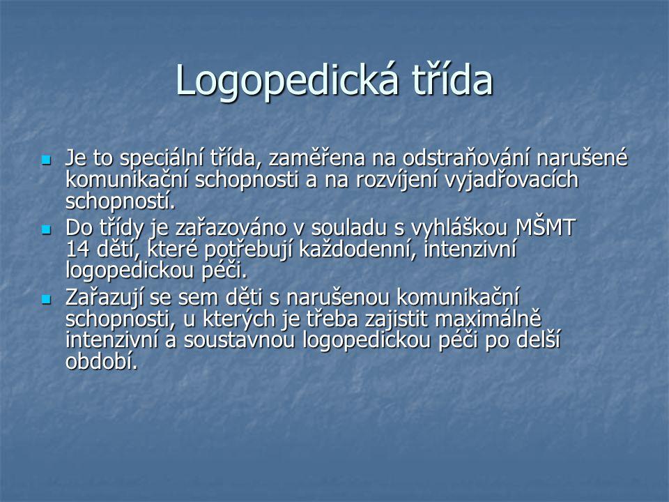 Logopedická třída Je to speciální třída, zaměřena na odstraňování narušené komunikační schopnosti a na rozvíjení vyjadřovacích schopností.