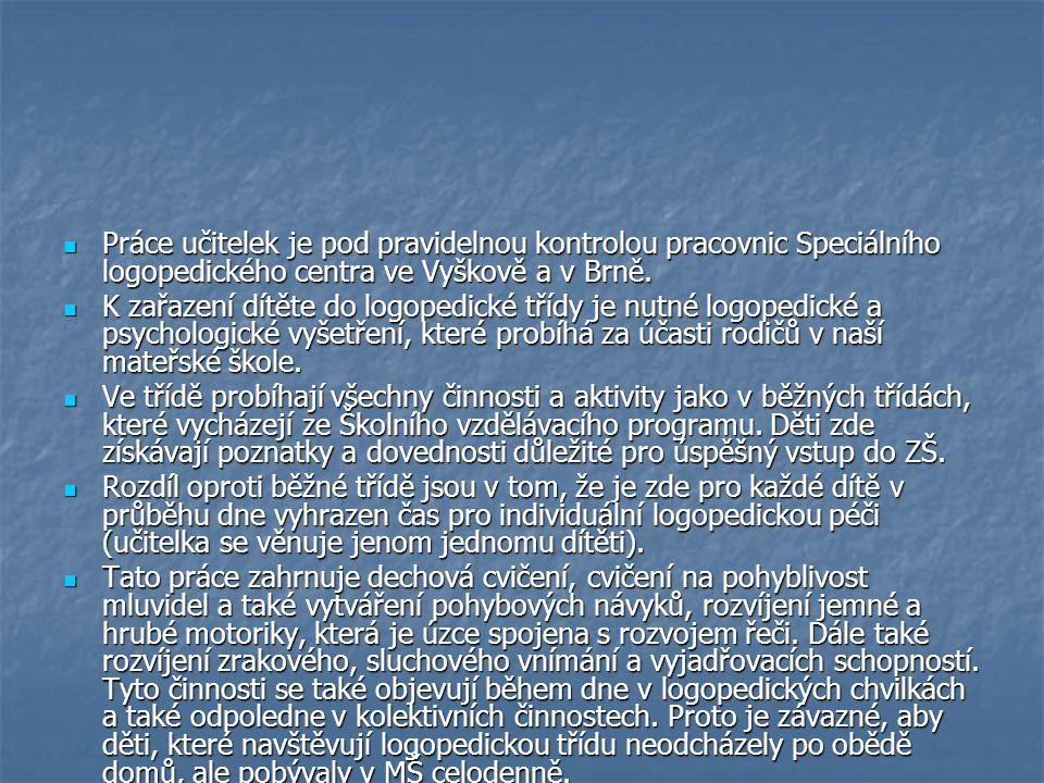Práce učitelek je pod pravidelnou kontrolou pracovnic Speciálního logopedického centra ve Vyškově a v Brně.
