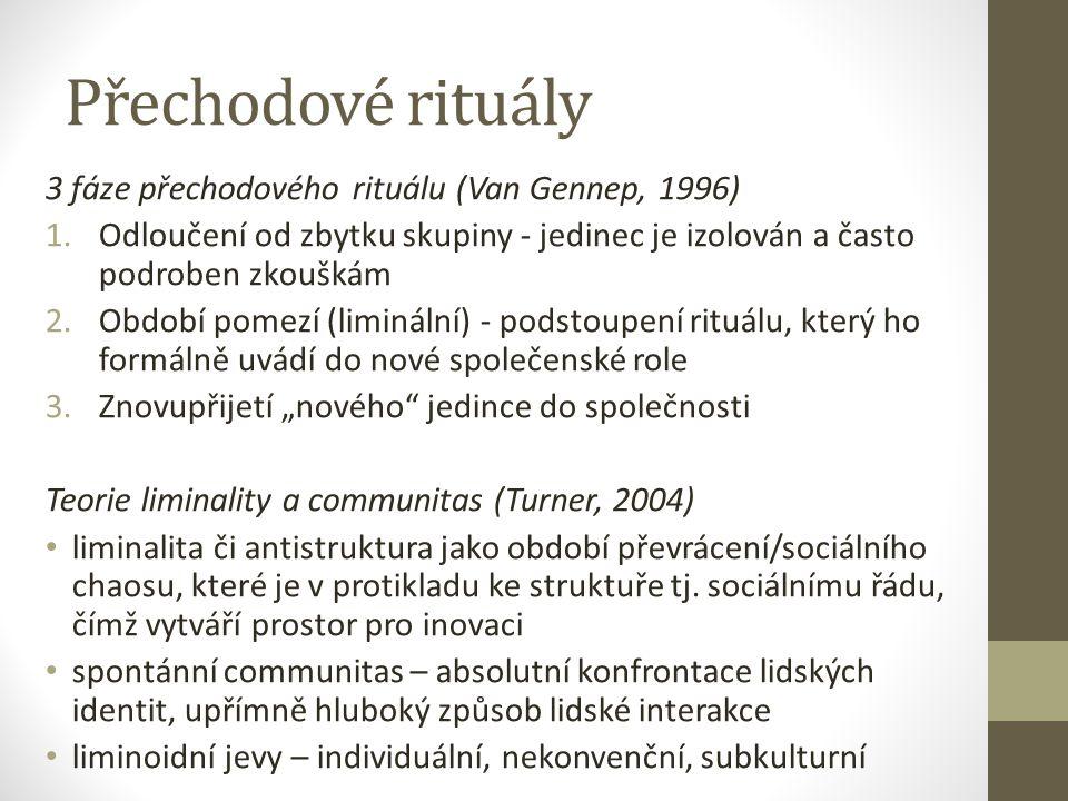 Přechodové rituály 3 fáze přechodového rituálu (Van Gennep, 1996)