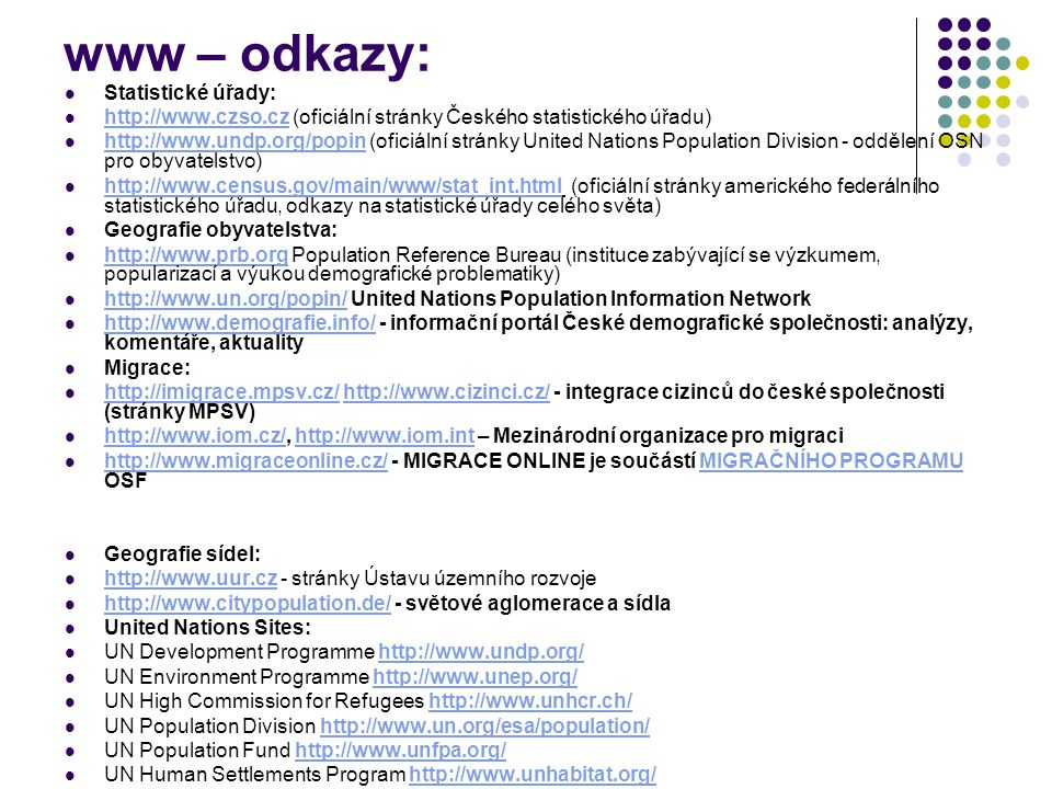 www – odkazy: Statistické úřady: