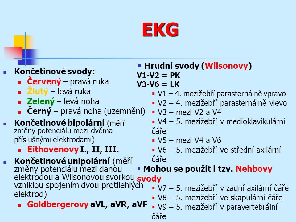 EKG Hrudní svody (Wilsonovy) Končetinové svody: Červený – pravá ruka