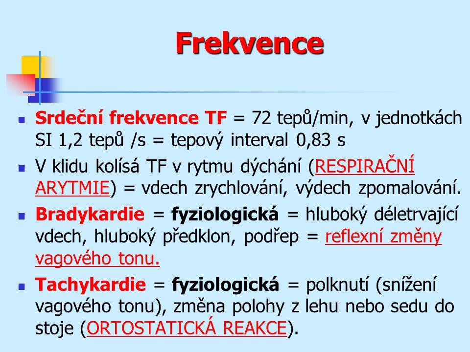 Frekvence Srdeční frekvence TF = 72 tepů/min, v jednotkách SI 1,2 tepů /s = tepový interval 0,83 s.