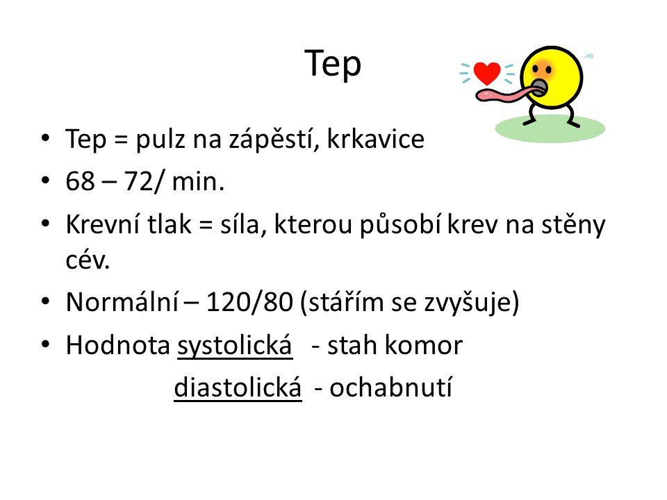 Tep Tep = pulz na zápěstí, krkavice 68 – 72/ min.