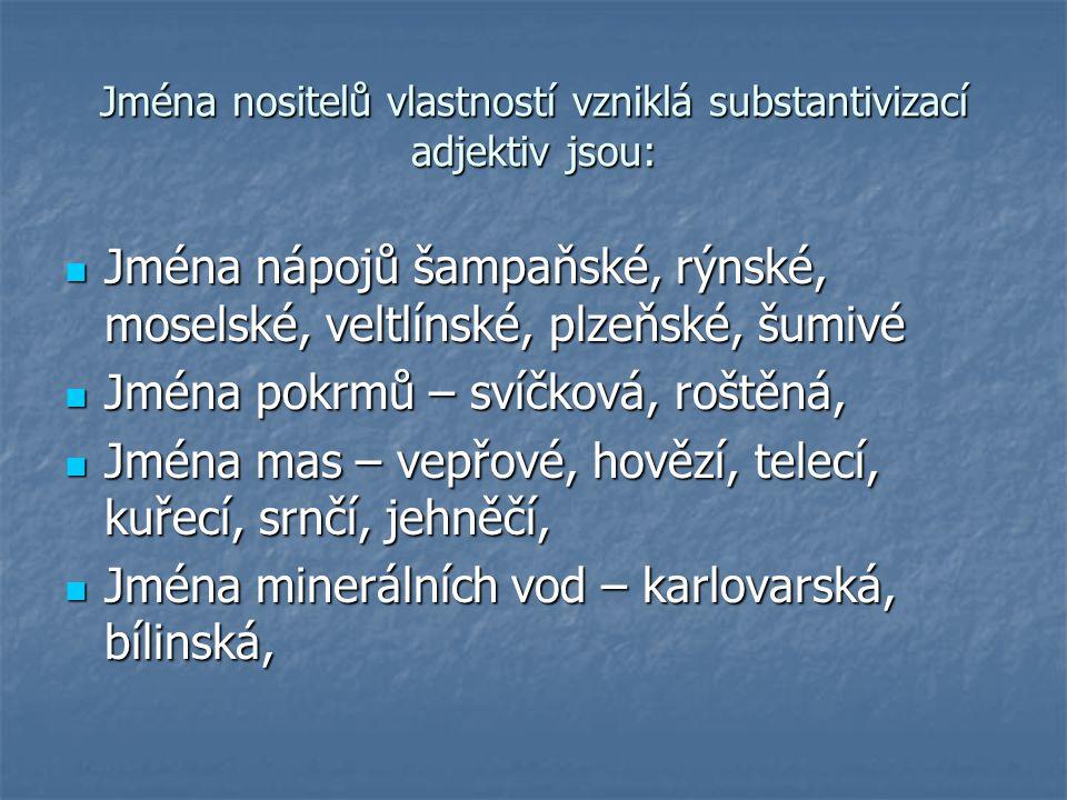 Jména nositelů vlastností vzniklá substantivizací adjektiv jsou: