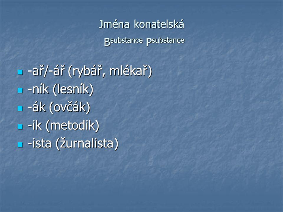 Jména konatelská Bsubstance Psubstance