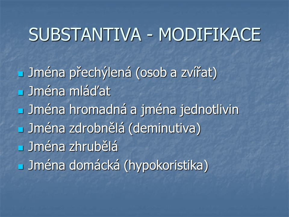 SUBSTANTIVA - MODIFIKACE