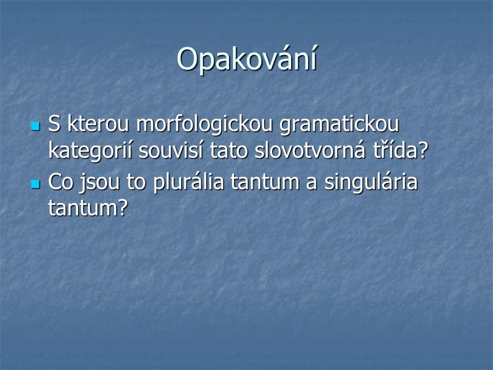 Opakování S kterou morfologickou gramatickou kategorií souvisí tato slovotvorná třída.