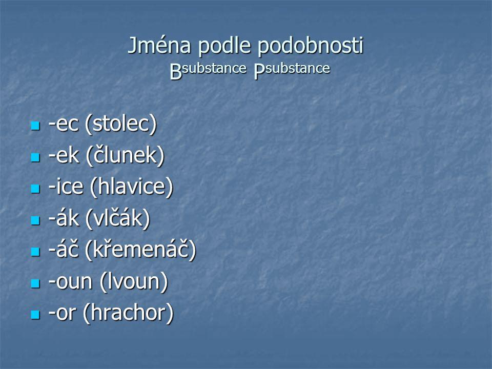 Jména podle podobnosti Bsubstance Psubstance