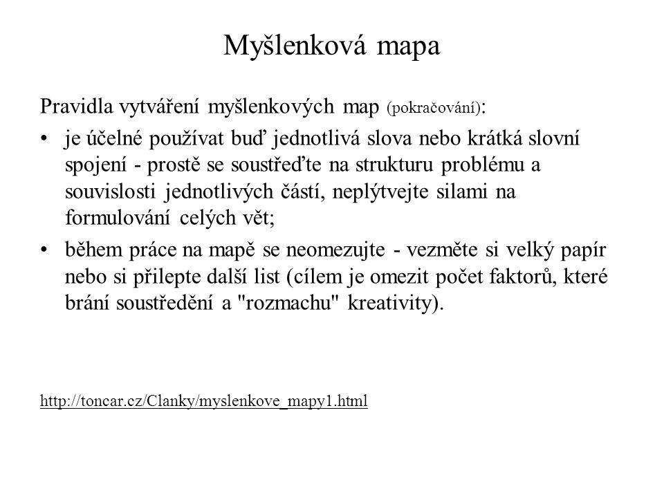 Myšlenková mapa Pravidla vytváření myšlenkových map (pokračování):