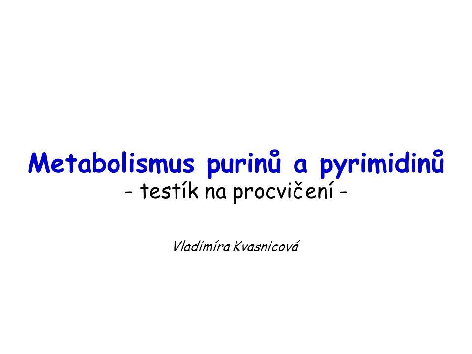 Metabolismus purinů a pyrimidinů - testík na procvičení -