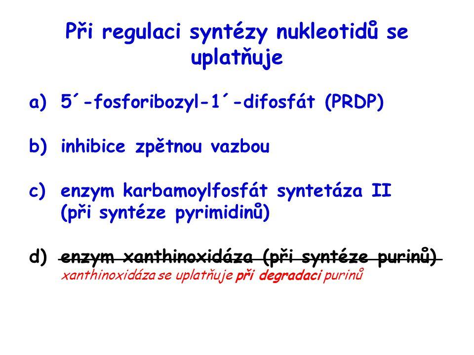 Při regulaci syntézy nukleotidů se uplatňuje