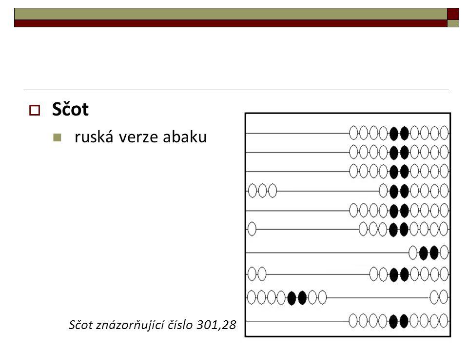 Sčot ruská verze abaku Sčot znázorňující číslo 301,28