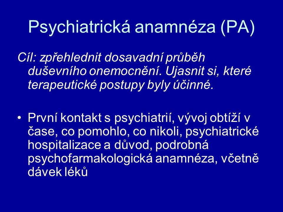 Psychiatrická anamnéza (PA)