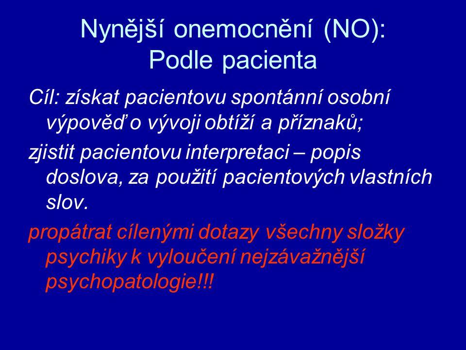 Nynější onemocnění (NO): Podle pacienta