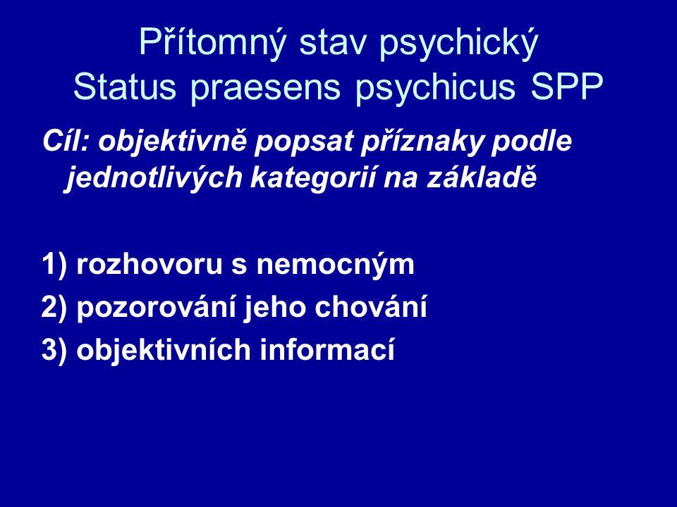 Přítomný stav psychický Status praesens psychicus SPP