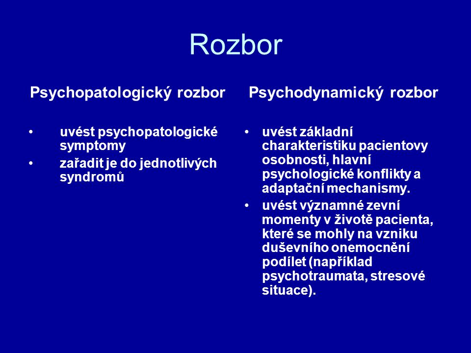 Psychopatologický rozbor Psychodynamický rozbor