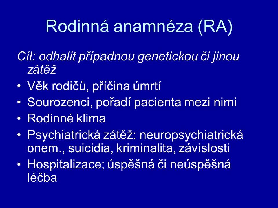 Rodinná anamnéza (RA) Cíl: odhalit případnou genetickou či jinou zátěž