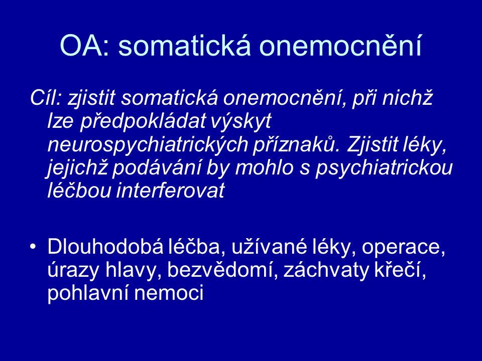 OA: somatická onemocnění