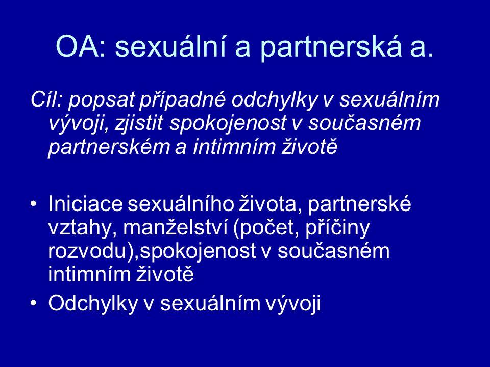 OA: sexuální a partnerská a.