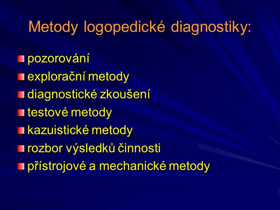 Metody logopedické diagnostiky: