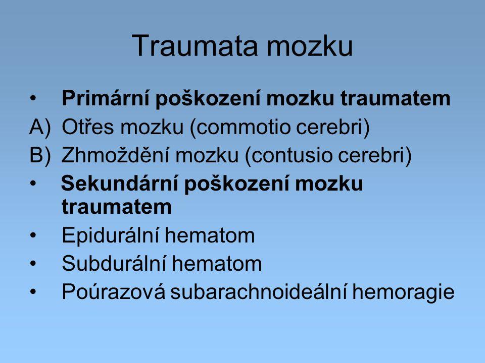 Traumata mozku Primární poškození mozku traumatem