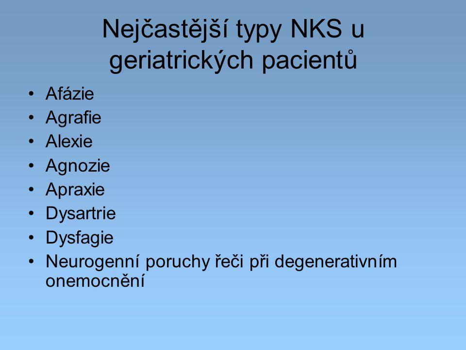 Nejčastější typy NKS u geriatrických pacientů