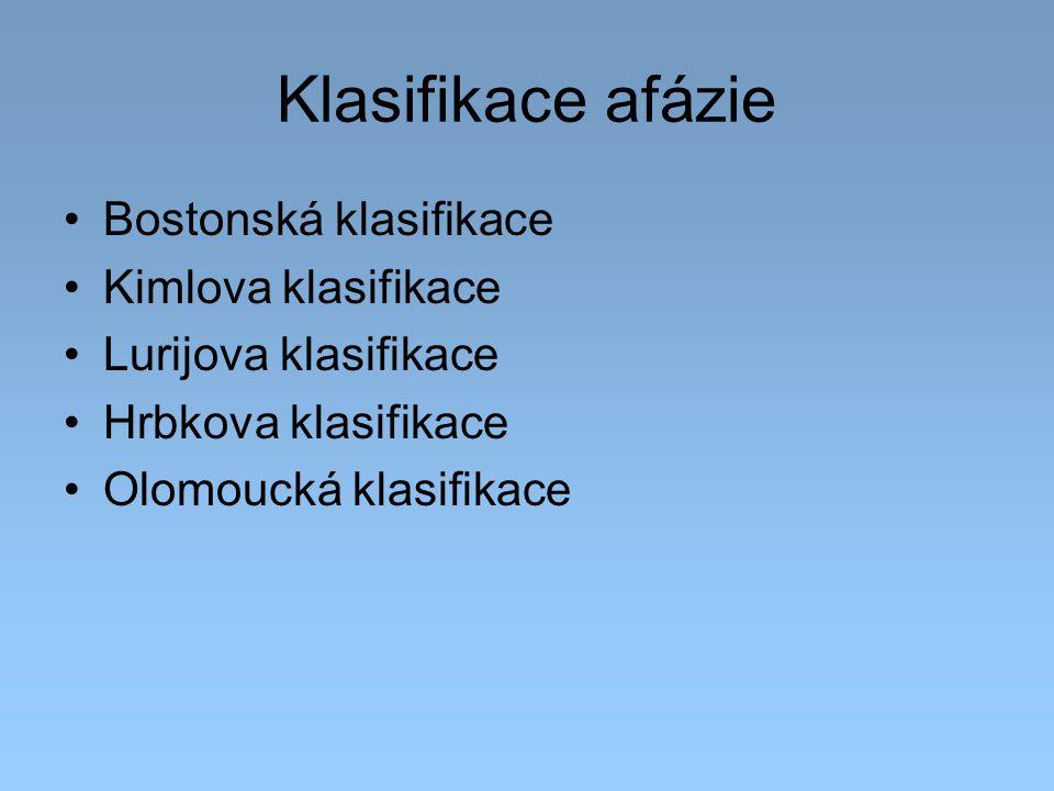 Klasifikace afázie Bostonská klasifikace Kimlova klasifikace