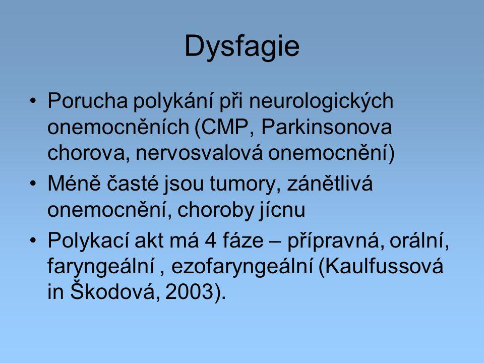 Dysfagie Porucha polykání při neurologických onemocněních (CMP, Parkinsonova chorova, nervosvalová onemocnění)