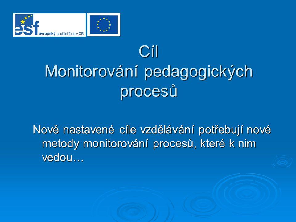 Cíl Monitorování pedagogických procesů